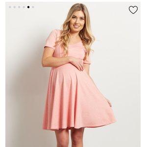 Pinkblush maternity coral vneck dress